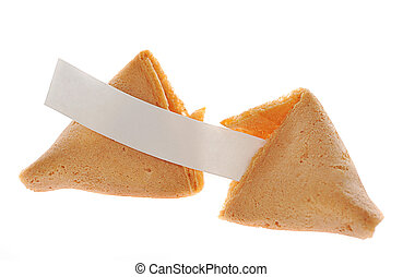Fortune cookie - Two fortune cookies with text banner on...