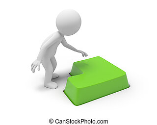 Man with keyboard - 3d person, man, human pressing a green...