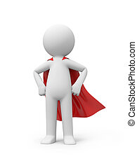 superman - 3d superman, superhero standing in red cloak