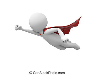 superman - 3d superman, superhero flying in red cloak