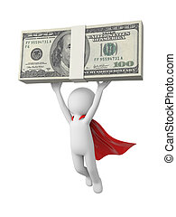 Superman with money - 3d superman, superhero flying in red...