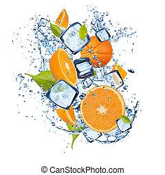 Ice oranges on white background - Ice oranges isolated on...