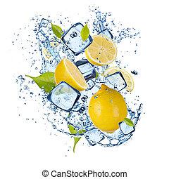 Ice lemons on white background - Ice lemons isolated on...