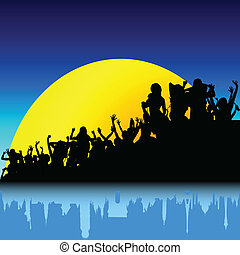 party silhouette on sunset color vector illustration