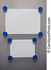 Bulletin Board - Magnet Bulletin Board with blue magnets on...