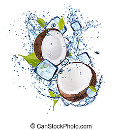 Ice coconut on white background - Ice coconut isolated on...
