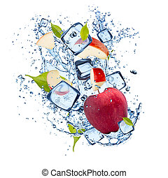 Ice red apple isolated on white background - Ice red apple...
