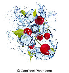 Ice cherries on white background - Ice cherries isolated on...