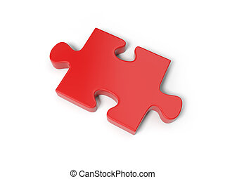 Puzzle piece - 3d red puzzle piece isolated on white...