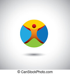 person doing yoga, fitness icon - concept vector graphic...