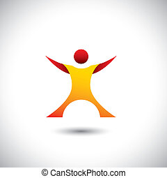 excited person after winning icon - concept vector graphic...