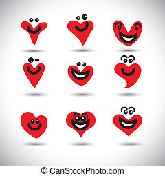 happy, smiling, lively heart icons collection set - concept...