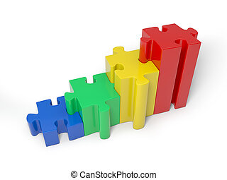 Puzzle blocks - 3d colorful puzzle pieces isolated on white...
