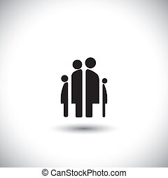 Happy family icon: father, mother, son and baby girl - concept vector.