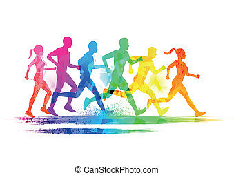 Group Of Runners, men and women running to keep fit Vector...