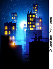 Midnight City. Vector illustration of apartment blocks in a...