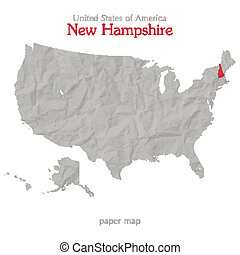 new hampshire - United States of America map and New...