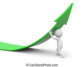 Man with arrow - 3d man, person, human pushing green arrow