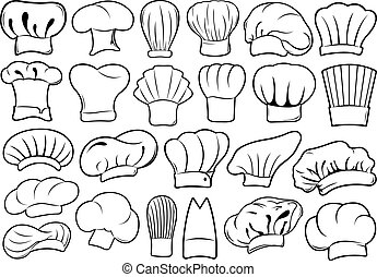 Set of different chef hats isolated on white