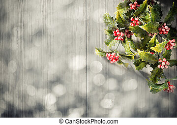 Christmas backgrounds. Christmas decor on the white wooden...