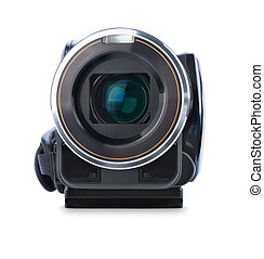 Digital video camera isolated on white background