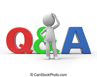 Question and answer - A 3D people with a QA sign