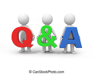 Question and answer - Three 3D people with a Q&A sign