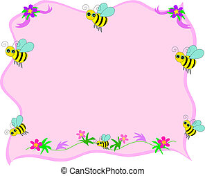 Bee Frame with Pink Background
