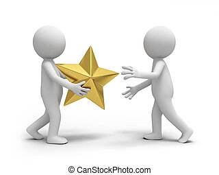 gold star - A  3d  people pass a gold crown to others