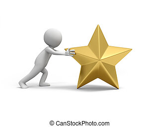 gold star - A 3d people push a big gold star