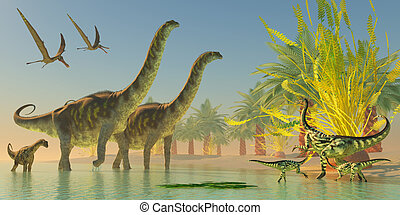 Argentinosaurus in Lake - A mother Deinocheirus dinosaur and...