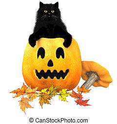 Black Cat Halloween Autumn Leaves - A black domestic cat, a...