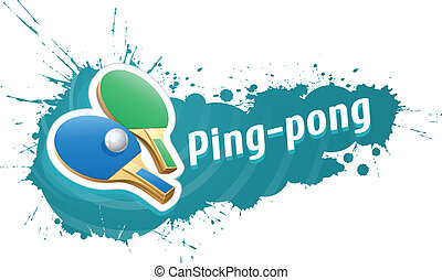 Ping-pong table tennis racket and ball on grunge background...