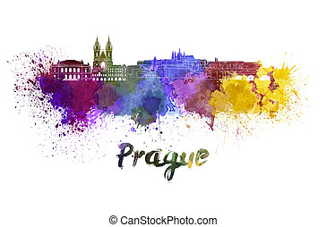 Prague skyline in watercolor splatters with clipping path