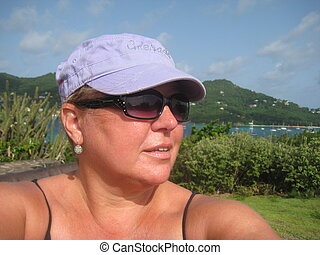Grenadines Traveller - A lone caucasian female traveller...