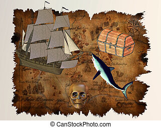 Pirate Treasure - A treasure map marks the location of...
