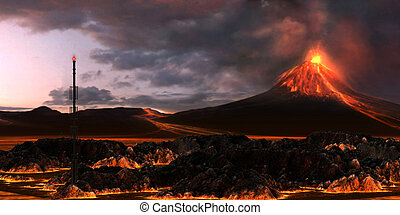 Volcanic Landscape - An active volcano spews out billowing...