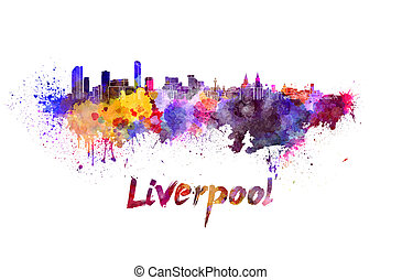 Liverpool skyline in watercolor splatters with clipping path