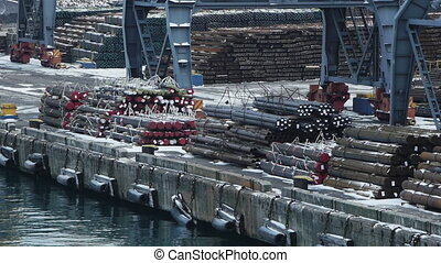 Various kinds of metal unloaded in trading port