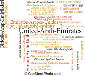 United Arab Emirates in word clouds - Vector illustration of...