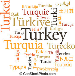 Turkey in word clouds - Vector illustration of Turkey in...