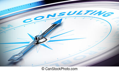 Business Consulting - Compass with needle pointing the word...