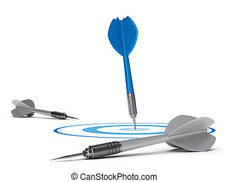 Goal Attainment Concept - One blue dart in the center of a...