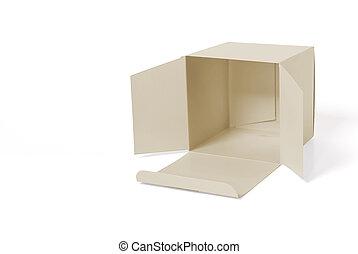 Carton - Recumbent open carton on white background.