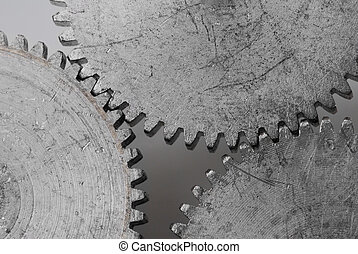 Macro detail of old gears - With extra highlight to show the...