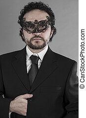 mystérieux, homme affaires, masque,  sexy