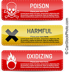 Poison, Harmful, Oxidizing - Danger sign set - Poison,...