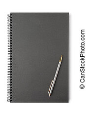 Loose-leaf - Black loose-leaf with pencil on white...