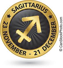 Sagittarius zodiac gold sign, sagittarius symbol vector...