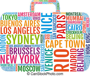 travel suitcase, vector - travelling, colorful city trip...
